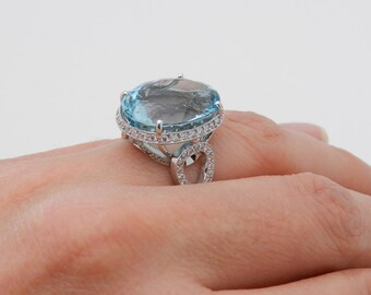 14K White Gold 18.95 carat Diamond and Aquamarine Halo Engagement Ring HUGE Aqua Size 6.25