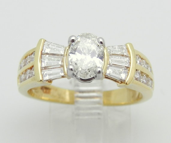 1.57 ct Diamond Engagement Ring Oval Brilliant 18K Yellow Gold Size 7 Natural