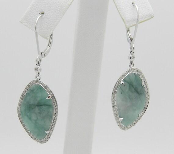REDUCED Diamond and Aquamarine Slice Dangle Drop Earrings 14K White Gold 12.30 ct Aqua