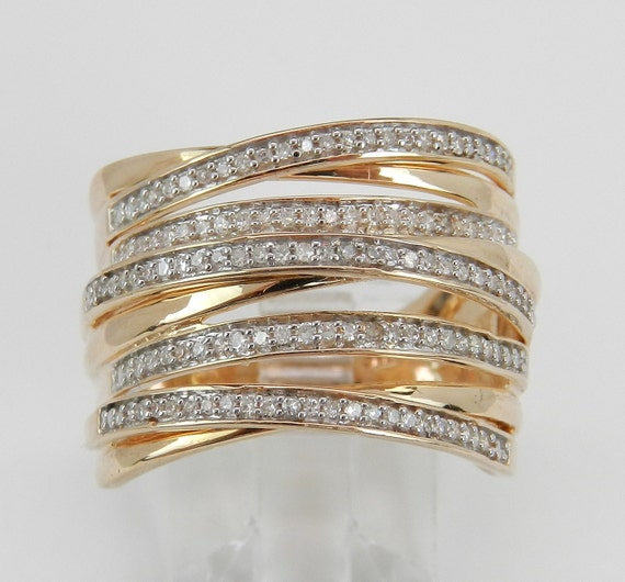 diamond crossover ring multi row band rose pink gold by. Black Bedroom Furniture Sets. Home Design Ideas