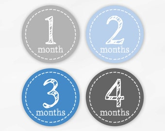 Baby Monthly Stickers for Photos - Blue and Gray Set of Waterproof Tear Resistant Stickers for Baby Boy (6001-1)