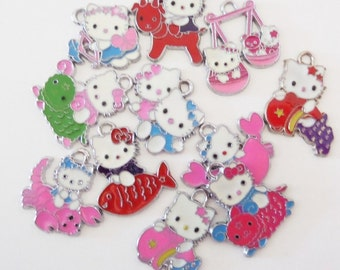 BULK Siver Toned Hello Kitty Inspired Charm Mix, Y5