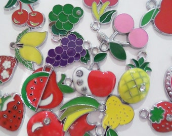 5CT Silver Toned Variety Package of Enamel Fruit Charms, Y31
