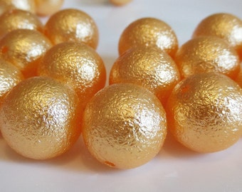 12mm. 25CT. Orange Foil Beads,