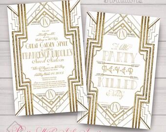 Sweet Sixteen/Wedding Invitations: Gatsby, Roaring 20s, Gold & White. Samples, Digital Files, or Printed Deposit. See Listing/Item Details