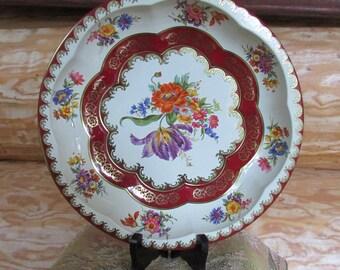Daher Red Floral Bowl Tin