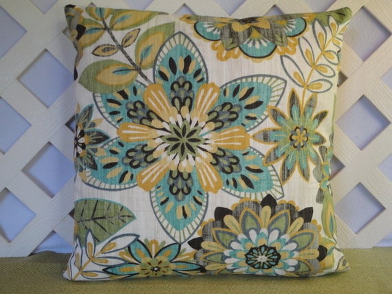 Floral Pillow Cover In Teal Blue Yellow Gold Green Grey Ivory