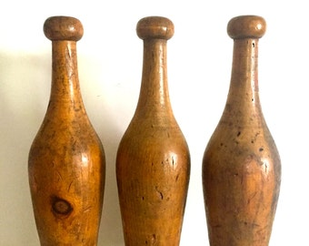 Vintage  Wooden Juggling Pins, Circus, Indian Clubs, Wooden Clubs, set of 3