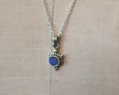 Moonstone - Tanazanite - Sterling Silver Wire Wrapped Necklace - Artisan Jewelry Handmade - Sundance Style