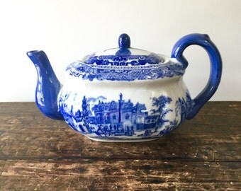 Blue On White China Victoria Ware Ironstone Repro 19th Century Style Teapot