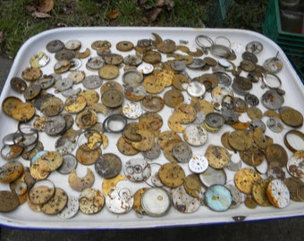huge lot of hundreds of antique vintage POCKET WATCH PARTS