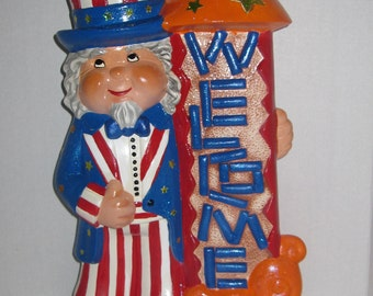 4th of July Uncle Sam Ceramic Welcome Sign