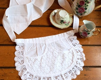 Vintage Apron extra short extra tiny Broiderie Anglaise German Cafe White cotton lace Downton Abbey, French maid apron, Servant French maid