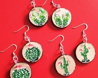 One Pair Cactus Earrings