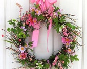 Storm Door Wreath - Spring Wreath - Pink Daisy Floral Wreath - Easter Wreath - Mother's Day Gift - Primitive Wreaths - Home Decor - Pastel