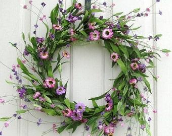 WREATH SALE Storm Door Wreath - Floral Wreath - Purple & Pink Floral Wreath - Summer Wreath - Front Door Wreath - Spring Celebrations