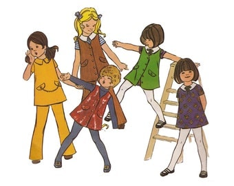 1970s Girls Dress, Jumper or Tunic & Flared Pants Butterick 5976 Size 3 Breast 22 Flap Pocket Front Buttons Childrens Sewing Pattern
