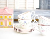 Set of Four Vintage Teacups and Saucers - Pink Flowers - Made in England - Johnson Brothers