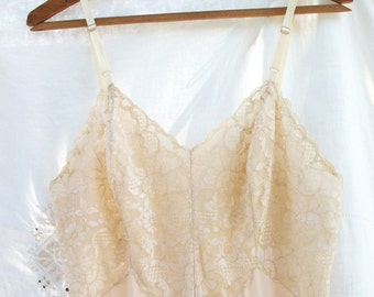 Vanity Fair ~ Bisque / Nude Full Slip ~ Adjustable Straps  ~ Size 36 T/Tall ~ Chic Vintage ~ Lace Top / Lacey Bottom Design ~ Feminine