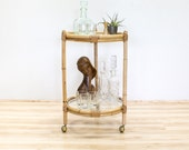 Mid Century Bar Cart, Bamboo Bentwood and Glass, Vintage Barware