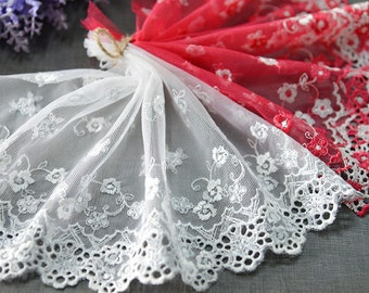 "5 yard 18cm 7.08"" wide gray/red mesh tulle gauze fabric embroidered tapes lace trim trimming ribbon vaert free ship"