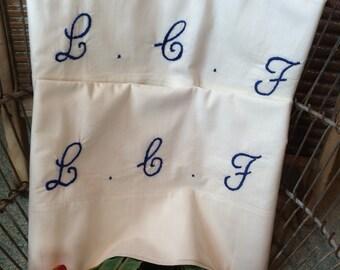 Hand Sewn LCF Cursive Monogram Vintage Bed Pillowcase Set Standard Cotton Blend