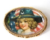 Patriotic Gold Plated Pin Vintage Americana Print in Gold Setting Gold Brooch Folk Art Pin American Flag PIn
