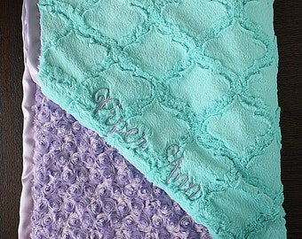 Embroidered Minky Blanket, personalized minky blanket, minky baby blanket, baby girl, blanket with name, baby gift, mint and purple, frozen