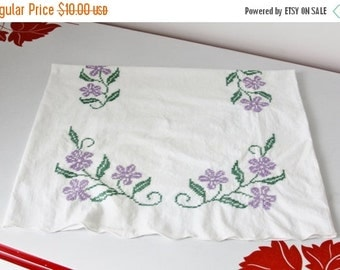 ON SALE Vintage Embroidered Pillow Case White Cotton With Purple and Green Flowers