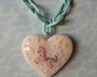 SALE Pastel Unicorn Heart Teal Chain Link Necklace