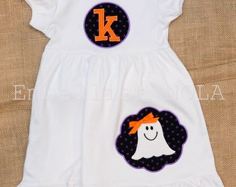 Halloween Ghost Girl Applique with Monogram Patch Applique Knit Ruffle Dress