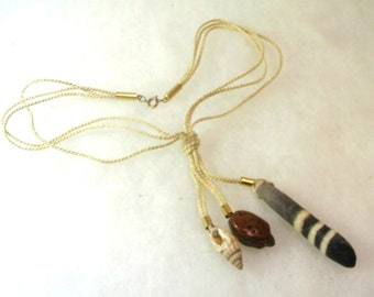 Vintage Beach Resort Necklace with Sea Urchin Spine, Shell - No. 1638