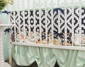 Custom Crib Bedding in Navy, Mint, Coral, and Gold with Coral Jubilee and Sparkly Gold Tulle Skirt
