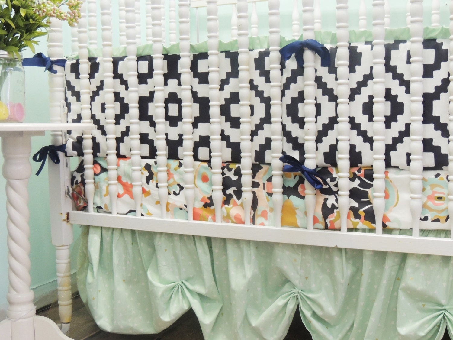 Custom Crib Bedding in Navy Mint Coral and Gold with Coral