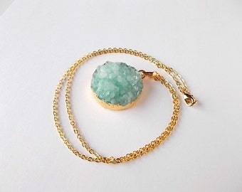 Mint Green Druzy Necklace, Gold Bohemian Jewelry, Unique Pendant, Gift for Her, Natural Crystal Necklace