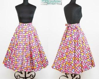 1950s Circle Skirt // Rainbow Batik Full Circle Skirt by Ann Kelly of California
