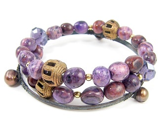 Purple Beaded Bracelet Semiprecious Stone Memory Wire Peal Gemstone Stacking Bangle Set
