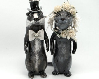 Otters and Badger wedding topper cake topper bride and groom