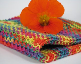 Hand knitted dish cloth - wash cloth - soft cotton green yellow purple red pink multicolored