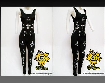 "C-1001  Womens / Junior Shredded, Weaved Sexy Black Catsuit ""DEVILICIOUS"" Aerial Yoga Wear, Burning Man Wear, One Piece, Festival Wear"