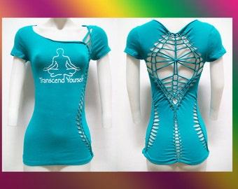 """SMALL - Juniors / Womens Cut Shirt """"TRANSCEND"""" Weaved, Yoga Wear, Beach Wear, Club Wear, Zen Wear"""