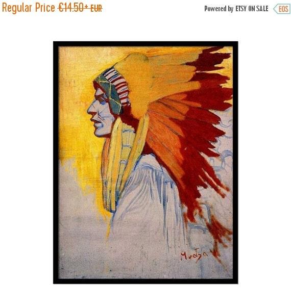 "Summer sale 15% OFF Vintage art, Art Nouveau painting, ""Indien Sioux"", Alphonse Mucha, Indian art"