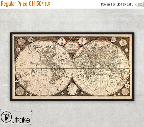 Summer sale 15% OFF Ancient Map of the World by Thomas Kitchen (1799)  - Old map of the world - Map of the World - Mercator projection   , 0