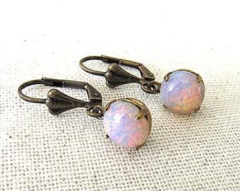 Opal Earrings Pink Fire Opal Earrings Harlequin Opal Jewelry Gift