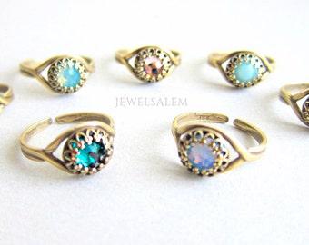 Birthstone Ring, Swarovski Crystal, Rhinestone Ring, Gift for Her, Adjustable, Friendship, Sister, Bridesmaids, Silver, Antique Brass, Gold