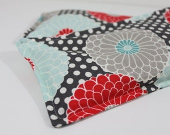 Neck & Shoulder Rice Bag - 4.5 x 21 inches, hot or cold therapy pack, flower and polka dot pattern, rice heating pad