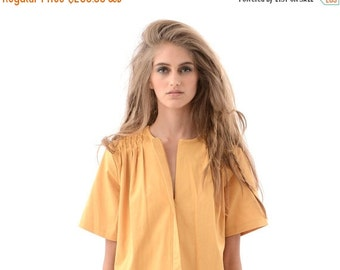 SALE 50% OFF Fun and Flirty Womens Shirt Dress in Unique Mustard Yellow, Chic Oversized Dress for Fall or Winter, Short Sleeve Fashion Dress