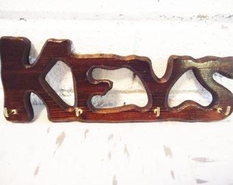 Key hook  key keeper  keys  key storage vintage retro 1970's wall mount entry hall decor wooden
