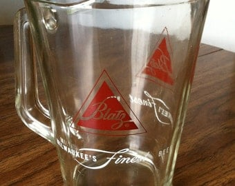 Vintage1960s Blatz Beer Dive Bar Pitcher Heavy Glass Milwaukee Wisconsin