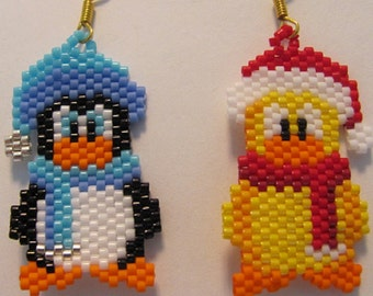 Hand Beaded Winter Friends Duck and Penguin dangling earrings